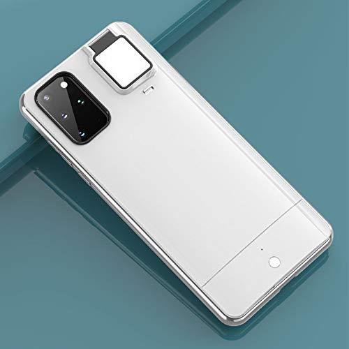 HHZY Funda Compatible con Samsung S21 Plus Carcasa Anillo de Luz Selfie con 3 Modos de Brillo USB Recargable Selfie Ring Light Anti Choque Back Cover,Blanco,For Samsung S20ultra