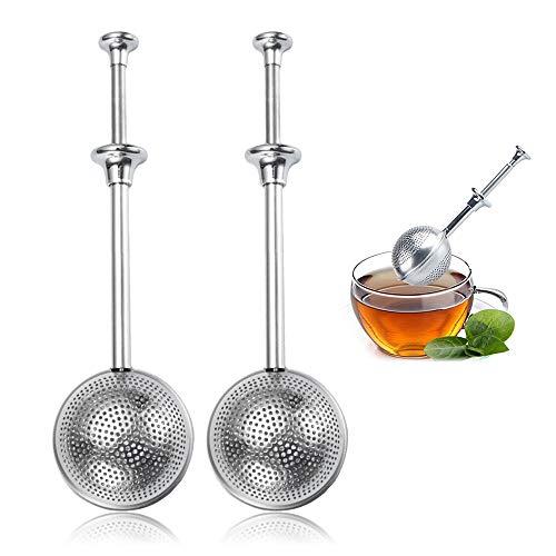 DMFSHI Teesieb, Edelstahl Teefilter, 2 PCS Tee Aufgussfeder, Edelstahl Teesiebe, Snap Ball Tee Aufguss mit Griff für Loseblatt Tee und Glühgewürze