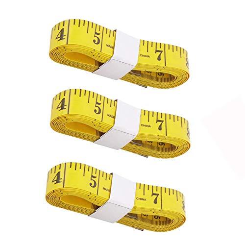COKAMOZ Cinta suave paquete de 3 reglas de medición de doble escala, impresión transparente, tela de doble cara