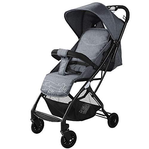 YEXIN Ligero Cochecito Compacto Silla de Paseo Ligera de reclinación Buggy, Ultra Ligero Cochecito de bebé Plegable con asa Cuando (Color : Gray)