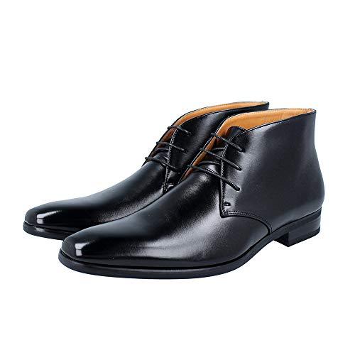[RS] ビジネスシューズ ハイカット ブーツ 革靴 メンズ 紳士靴 ビジカジ (レースアップ黒, 25.5cm)