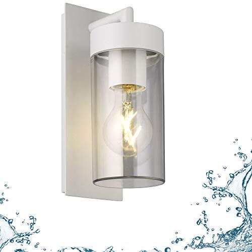 Aussenleuchte Wand Aussenwandleuchte E27 weiß Wandleuchte Aussenlampe Wandlampe Aussenleuchte Aluminium Aussenwandlampe 1883 WH