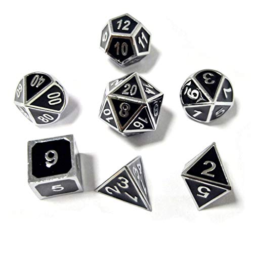 Sunnay 7 Stück Metall Würfel DND Polyhedral Solid Metall D&D Würfel Nickel Set mit Zahlen,Einsteigerset A1 Stil