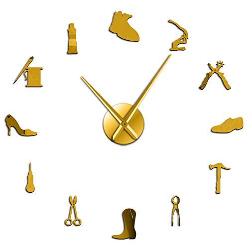 Reparación de Zapatos Arte de la Pared DIY Reloj de Pared Gigante Zapatero sin Marco Reloj silencioso Grande Zapatería Zapatero Arquero Zapatero Regalo Decoración de la habitación Dorado (47inch)