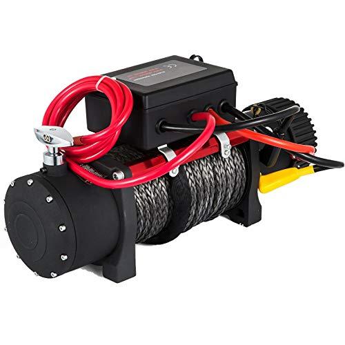LiChenY Cabrestante Electrico 12V con 13500 Lbs 27M Cable de Acero Control Remoto Caja para Camión de Remolque ATV 4x4 Recuperación de Automóviles Cubo Alzado de Cuerda Sintética Eléctrica (Size : A)