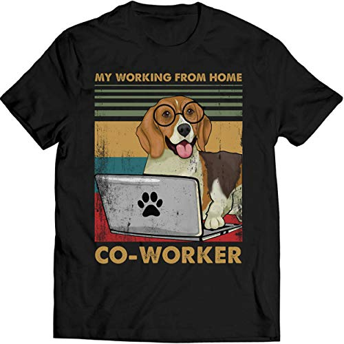 My Working from Home Co-Worker Vintage Shirt Dog Lovers T Shirt Quarantined Social Distancing T Shirt Men T-Shirt (M, Black)