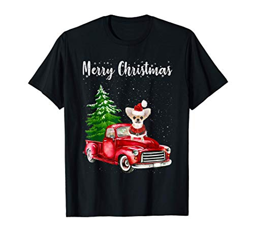 Chihuahua Riding Red Truck Merry Christmas Dog Lover Gifts T-Shirt