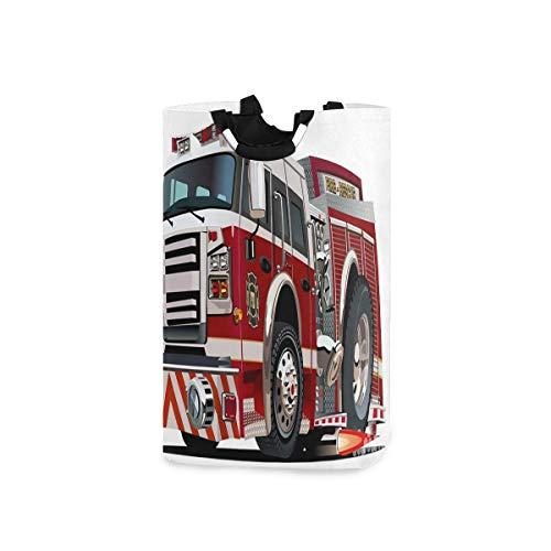 YUDILINSA Cesto de Lavandería,Camión de bomberos de dibujos animados disponible en formato Eps10,Plegable Cesto de Sucia Ropa Bolsas Almacenaje capacidad 52L con Asa para Dormitorio