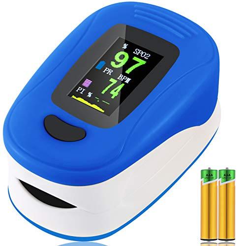 Monitor de saturación de oxígeno,pulsioxímetro de frecuencia cardíaca,monitor de oxígeno en sangre de dedo Sp02,Oxímetro portátil de alta precisión para niños adultos (Azul)