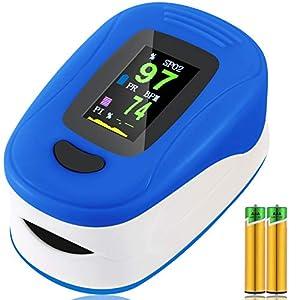Oxímetro de Pulso, Pulsioximetro de Dedo Profesional, saturacion oxigeno oxímetro con pantalla OLED,oxímetro portátil para adultos de alta precisión (Szul)