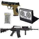 PACK Airsoft Duo Fusil et Pistolet à Billes M16A4 et MP40 à Ressort/Spring/Rechargement Manuel (0.5 Joule)/avec Accessoires