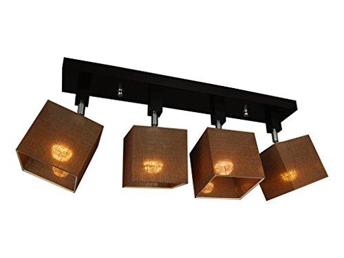 Deckenlampe - HausLeuchten LLS45BRDPR - 6 Varianten, Deckenleuchte, Leuchte, Lampe, 4-flammig, Massivholz (BRAUN)