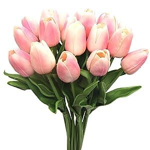 Silk Flower Arrangements Nailart 20 Heads Mini Artificial Tulips Flowers Real Touch Tulips Flowers for Arrangement Bouquet Party Home Decoration