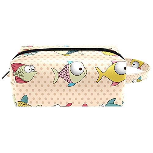 Bolsas de aseo de viaje con lunares de pescado, bolsa de cosméticos para mujer, piel de microfibra, bolsa de maquillaje práctica con cremallera