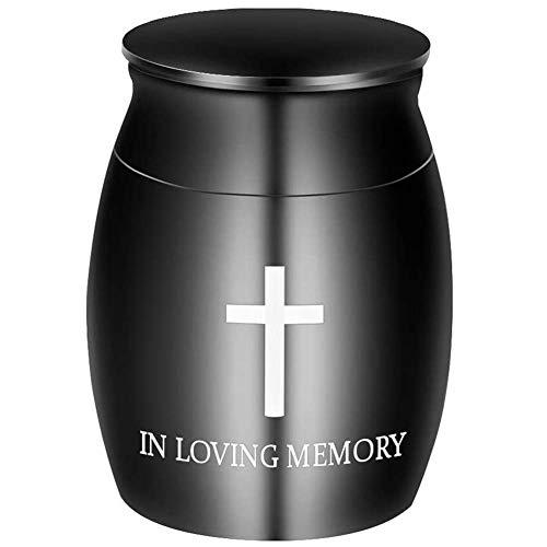 SOSPIRO Klein Feuerbestattung Andenken Urns Für Menschliches Ashes Mini Feuerbestattung Urne Beerdigung Urnen Für Menschliches Ashes - Schwarz, Small