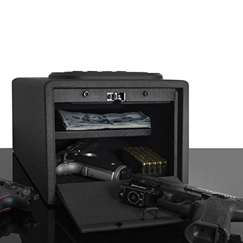 Biometric Gun Safe [High Capacity] Fingerprint Multi Gun Vault Lock Box Cabinet Case Handgun Ammo Firearm Safety Multiple Pistols Weapon Cache Arsenal [Fits 4 Pistols]