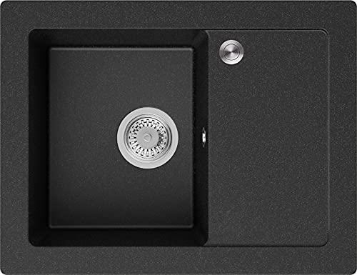 Granitspüle Graphit 64 x 49 cm, Spülbecken + Siphon Pop-Up, Küchenspüle ab 45er Unterschrank, Einbauspüle Ibiza von Primagran