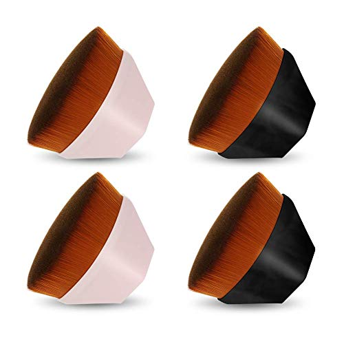 adakel 4Pcs Foundation Makeup BrushFlat Top Kabuki Brush for Blending Liquid, CreamPowder Cosmeticswith Protective Case
