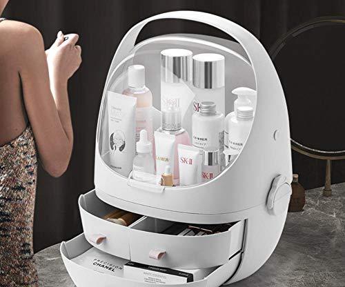 Cajones de caja de almacenamiento de cosméticos de escritorio Joyas ajustables Perfumes cosméticos Capas de soporte de exhibición Capas de caja de gran capacidad para el dormitorio-Blanco M
