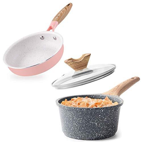 Caannasweis Nonstick Ceramic Pan & Milk Pan, Nonstick Egg Pan/Omelette Fry Pan with Bakelite Handle, Best Ceramic Frying Pan Mini Frying Pan