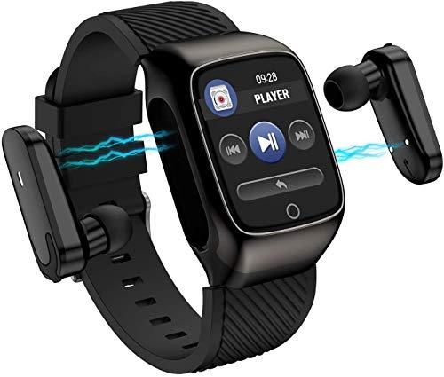 OH Reloj Inteligente, Recordatorio Multifunción de 1.3 Pulgadas, Auriculares Bluetooth Portátiles de Dos en Uno, Toque de Huellas Digitales Separadas, Deportes Inteligente Pulsera c