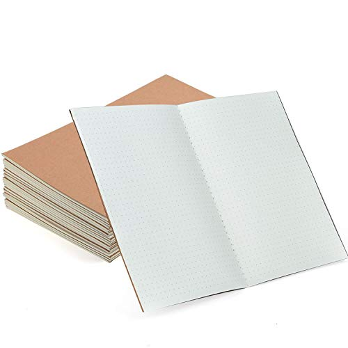 Coopay 12 Pack Journal Notebook Kraft Brown Cover Dot Grid Bullet Notebooks for Travelers - A5 Size - 210 mm x 140 mm - 60 pages/ 30 Sheets
