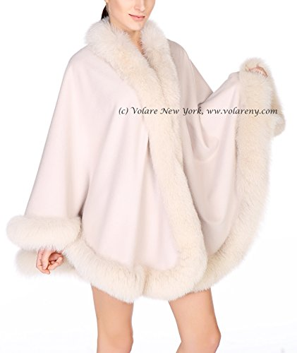 Cashmere Shawl with Fox Fur Trim (ivory)