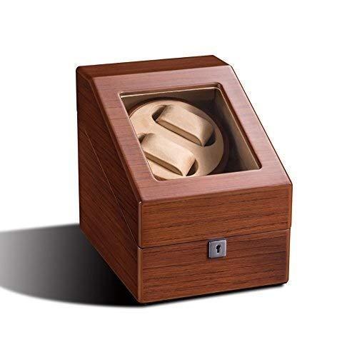 XUSHEN-HU Reloj automático devanadera doble reloj devanadera franela almacenamiento caso hecho a mano caja de reloj de madera 4 modos rotación temporizador función