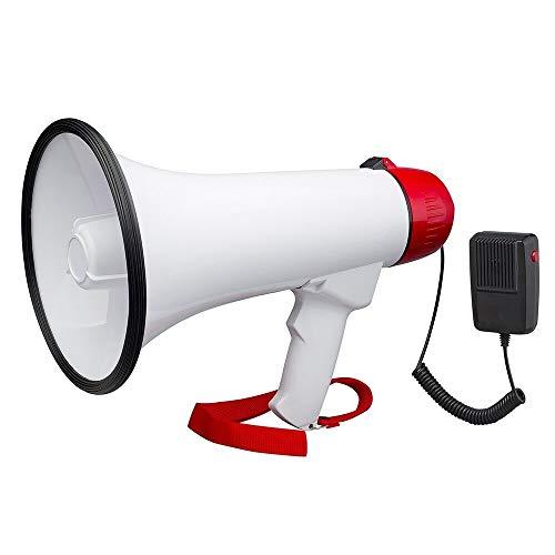 WXJHA De Mano del megáfono Altavoz Sirena incorporada - Volumen Ajustable Ideal para fútbol, fútbol, béisbol, Hockey, Baloncesto Aficionados, los Entrenadores, Caja Taladros