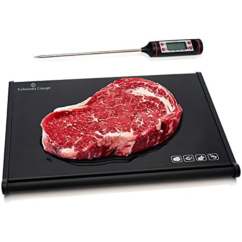 Evolutionary Concept 解凍トレイ 肉用温度計 高速解凍トレイ 冷凍肉用 使いやすい解凍プレートボード