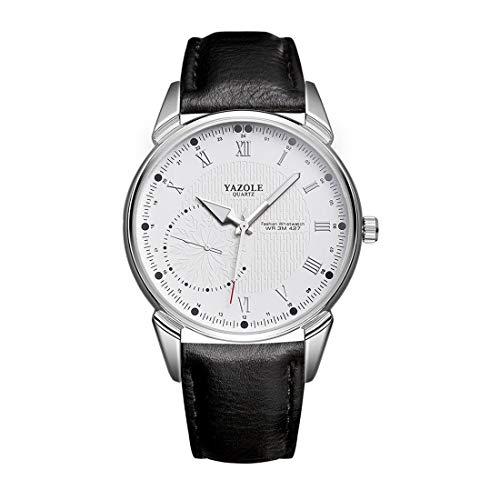 Reloj de hombre Venur Yazole 427 acero inoxidable resistente al agua mecánico al cuarzo caja color rodio esfera blanca correa de piel sintética negra relojes de pulsera
