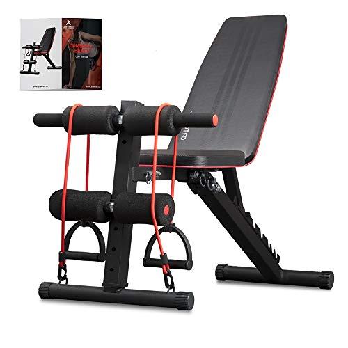 arteesol Banco de pesas plegable, ajustable, multifunción, banco inclinado, ejercicios de peso, aparatos de fitness, para el hogar (Negro)