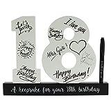 Creofant - Libro degli ospiti per 18° compleanno, in legno, con penna, idea regalo per il 18° (nero)