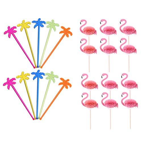 NUOBESTY 100PCS Swizzle Sticks E Flamingo da Cocktail Agitatori 50PCS di Vino di Plastica Swizzle Bastone di 50PCS di Legno Bastoncini da Cocktail per Il Partito di Estate Food Drink