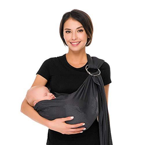 CUBY - Portabebé transpirable con poliéster y rápido tejido seco interior material de viaje al aire libre algodón confort seguridad Newborn Infant niño bufanda puerta (gris clásico)