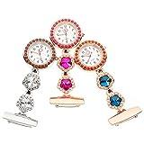 UKCOCO Enfermera Colgante Reloj de Bolsillo: 3 Piezas de Cristal Fob Reloj de Enfermería con Clip Reloj de Solapa Reloj Médico