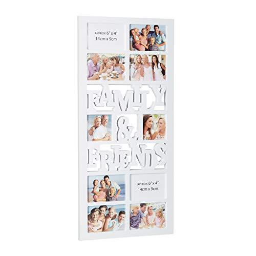 Relaxdays Bilderrahmen für 10 Fotos, Galerierahmen Family & Friends, Collage zum Hängen, HBT: 74,5 x 35 x 2 cm, weiß