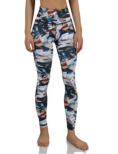 ODODOS Women's High Waisted Pattern Leggings, Tummy Control, Workout Yoga Pants with Hidden Pocket,FineArt,Large