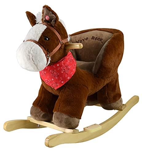 Cavallo a Dondolo per Bambini 1 Anno 2 Anni 3 Anni 4 Anni Pony in Legno con Verso Reale funzionante 68x33x50(h)