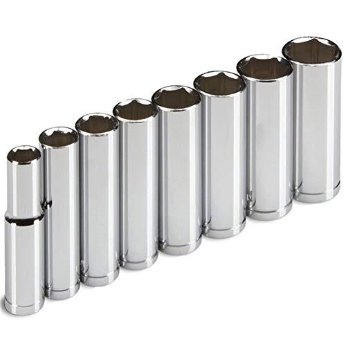 Professionelle 8PC 08.03-Zoll-Laufwerk Tiefe Socket Set Metric 10 Mm-19 mm for Ratsche Mitnehmerhülse Auto-Reparatur-Werkzeug Anti-Rutsch (Color : Silver)