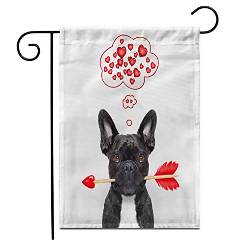 Adowyee 28'x 40' Garden Flag Valentines French Bulldog Dog in Love Holding Cupids Arrow Outdoor Double Sided Decorative House Yard Flags