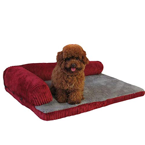 WWWL Camas para perros Cama de perro suave Cojín cuadrado Almohada lavable a máquina y alfombrilla desmontable Casa de gato para cachorro, perro mediano grande 55 x 45 x 13 cm rojo