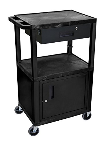 """Luxor Mobile 42"""" H Multipurpose Utility Storage Electric Audio Video Presentation Cart with 3 Shelves, Cabinet, Drawer - Black"""