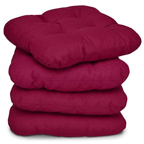 Beautissu 4er Set Stuhlkissen 40x40 cm – Bequemes Kissen Lisa mit 8 cm Polsterung - Weiches Sitzkissen Stuhl oder Sitzauflage Bank in Rot