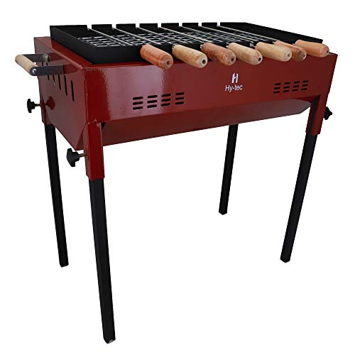 H Hy-tec (Device) Terrace Garden Limited Edition Picnic Barbeque with 7 Skewers(Wooden Handle), 1 Iron Grill & 2 Packet of Charcoal (Wine) (Make in India)