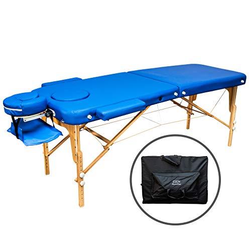 ZEN Basic III Flat Massage-Liege klappbar und höhenverstellbar – mobiler Massagetisch aus Vollholz mit verstellbarem Aluminium-Kopfteil und Kosmetik-Tisch Tasche, Farbe Königsblau