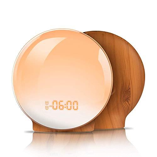 Wake Up Light,TITIROBA Sunrise Simulation Dual Alarms Clock Aid Sleep Snooze Function 8 Colors Night Light 7 Natural Sounds & FM Radio,USB Charge Port-AM/PM Wood Grain