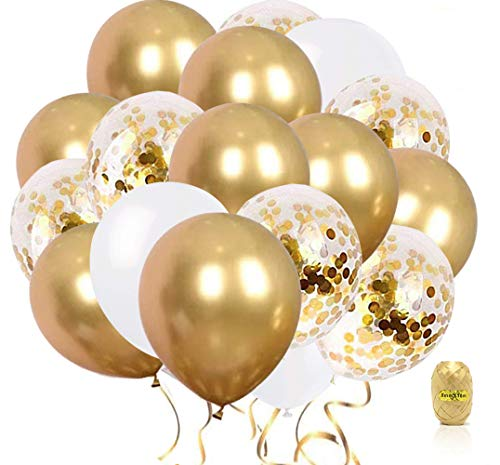 60 PCS 12 Inch Balloons, Upgraded Gold Balloons + Confetti Balloons + White Balloons, Gold Confetti Balloons, Latex Party Balloons for Wedding Graduation Birthday Parties Decorations - Amazon Vine