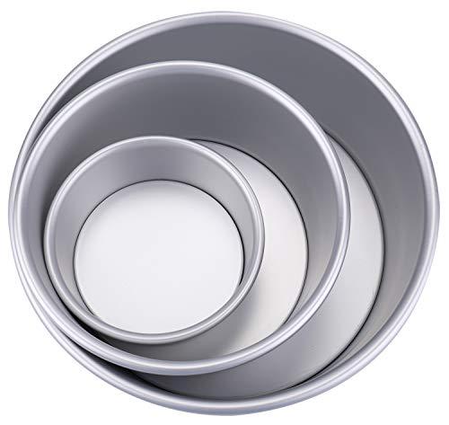 Lawei 3er Pack Kuchenform Runde Aluminium Backform Antihaftbeschichtung mit Abnehmbar Boden für Torte - 10 cm, 15 cm, 20 cm