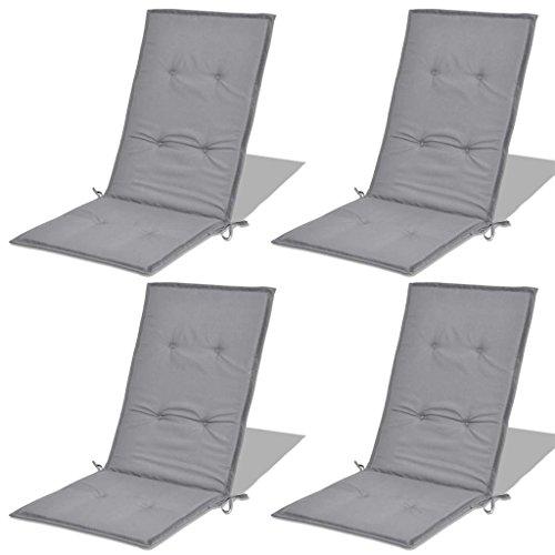 Tidyard Set di 4 Cuscini per Sedie da Giardino 120x50x3 cm Cuscini per Sedia con Schienale Alto per Sedie Reclinabili, Spiaggine e Poltrone da Giardino Grigio